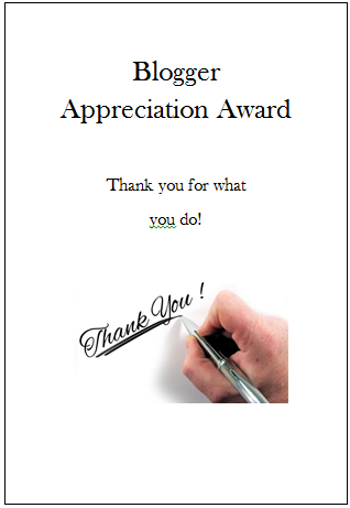 Blogger Appreciation Award