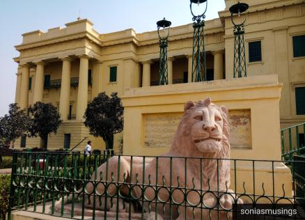 Lion on the left side of Hazarduari Palace