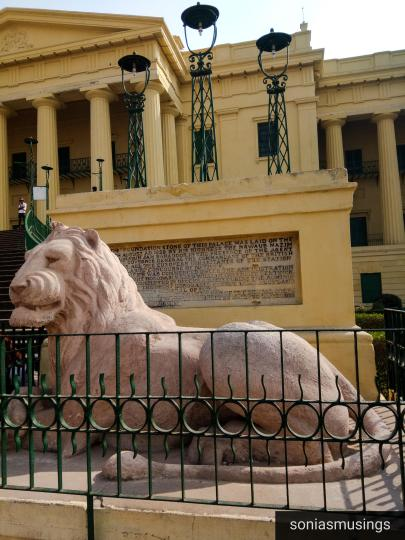 Lion on the right side of Hazarduari Palace