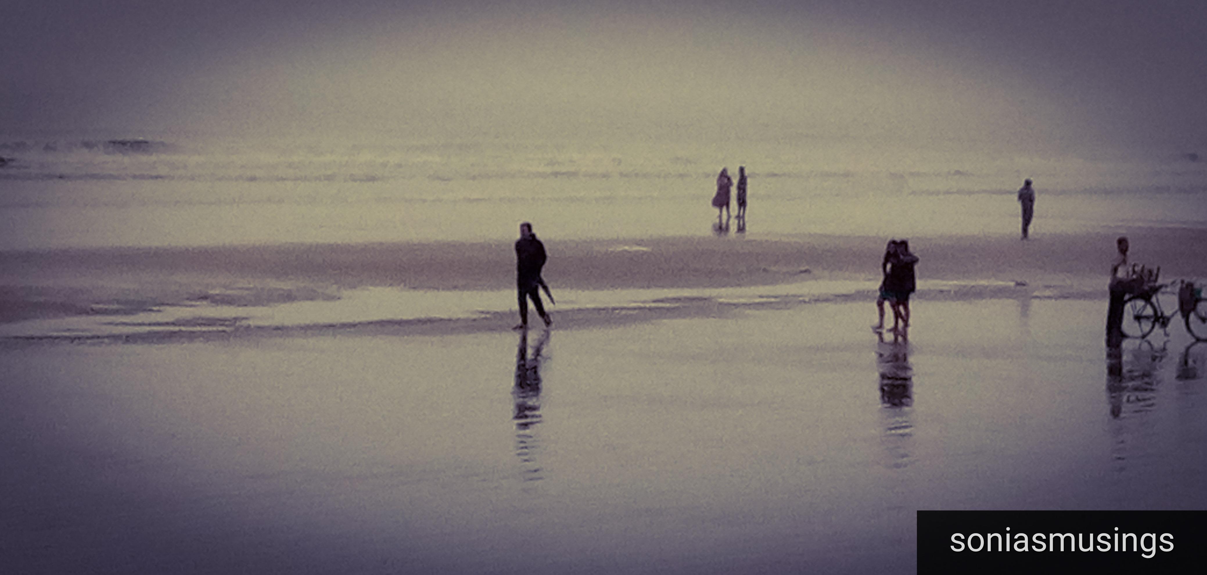 Walking down the beach