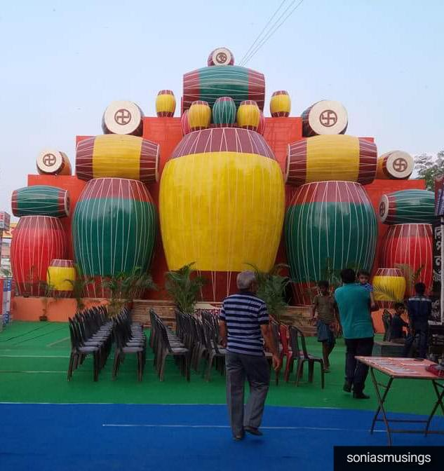 A pandal created out of drums -Pujo 2017