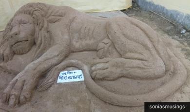 Sand art in front of Nabarun Samiti