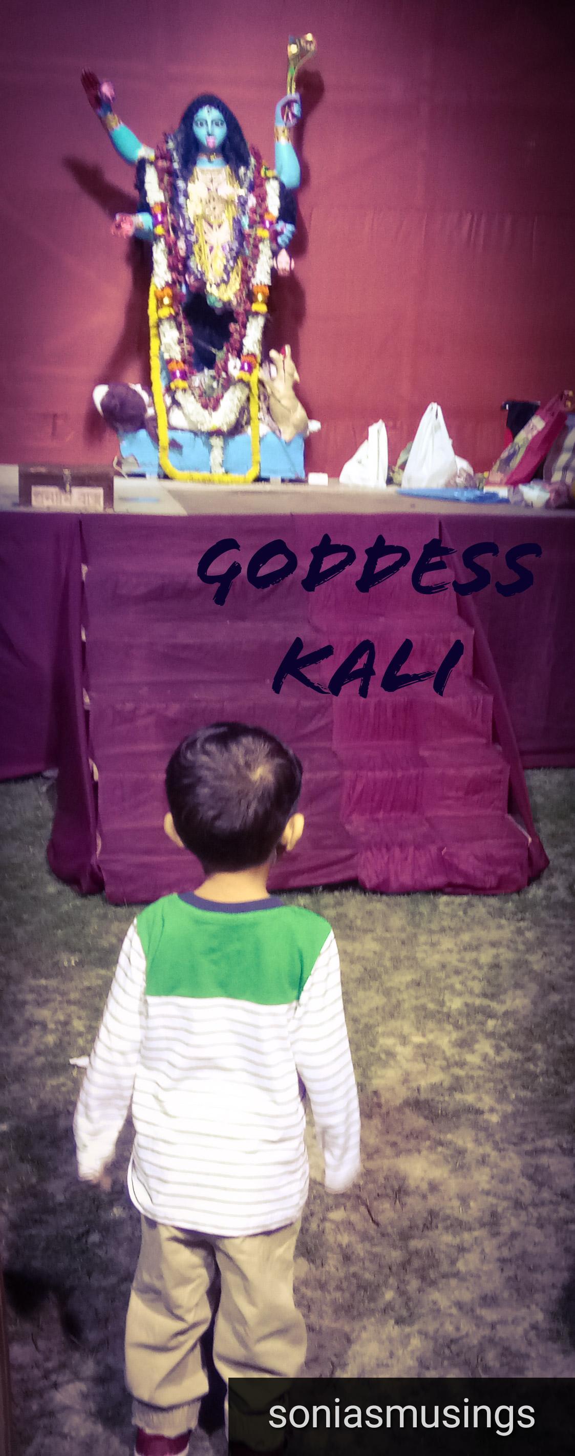 The toddler at a Kali Puja Pandal during Diwali