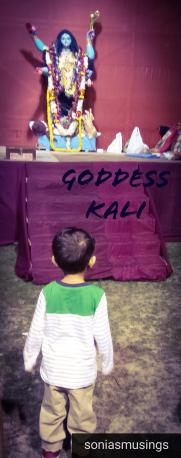 The toddler at a Kali Puja Pandal during Diwali