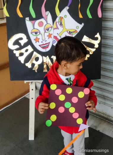 The kite made by him with Aunty M's help at the carnival