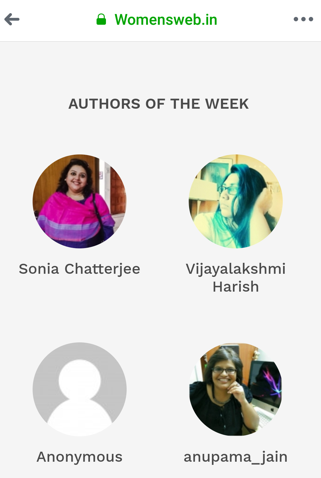 Author of the week @ womensweb