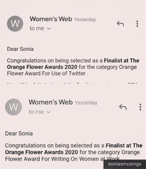The mails announcing the Finalists
